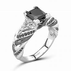 black diamond engagement ring for princess cut stone