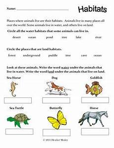 plants habitat worksheets for grade 2 13565 science animals of land and water habitats habitats animals live in water animal habitats
