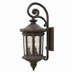 hinkley raley oil rubbed bronze three light outdoor wall