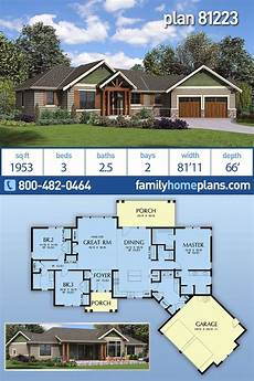 one story ranch house plans one story craftsman ranch house floor plan 81223 at family