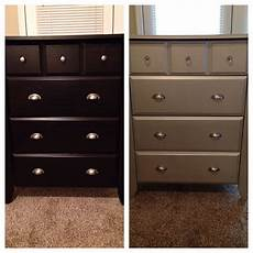 before left and after right my dresser was a dark espresso color sanding 3 coats of