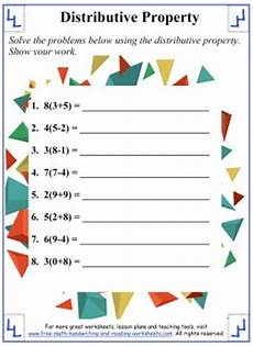 distributive property math worksheets