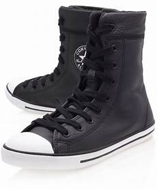 converse black chuck dainty leather hi top trainers