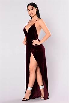 angelique velvet maxi dress dark burgundy