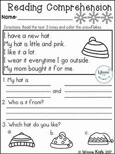 winter reading worksheets 20078 kindergarten reading comprehension passages winter reading comprehension passages