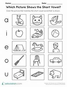 which picture shows the short vowel worksheet education com