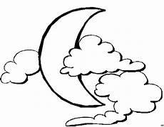 Ausmalbilder Mond Kostenlos Halbmond Mit Wolken Ausmalbild Malvorlage Sonne Mond
