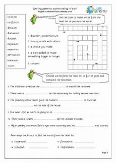 spelling worksheets tion sion 22559 sion word endings worksheet for key stage 1