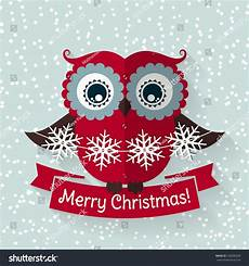 merry christmas greeting card with cute owl and ribbon flat style vector illustration