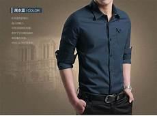 baju kemeja pria polos lengan panjang keren slim fit terbaru ryn fashion