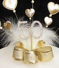 gold padded heart and diamante 50th birthday cake topper golden wedding with white marabou