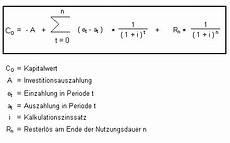 kalkulationszinssatz berechnen kapitalwertmethode ein