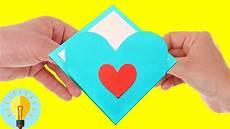 basteln mit papier herz karte zum valentinstag diy