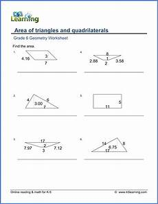 geometry worksheets for 6th grade 717 grade 6 math worksheet geometry area of triangles quadrilaterals k5 learning