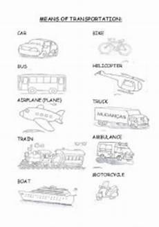 means of transport esl worksheet by jacksam