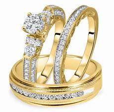 1 1 2 carat t w cut diamond matching trio wedding ring 14k yellow gold my trio