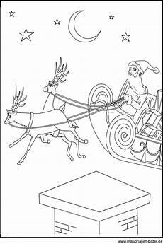 malvorlag und ausmalbild vom weihnachtsmann mit seinem