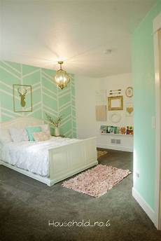 Bedroom Ideas Green And Gold by Mint And Gold Bedroom Harringbone Wall