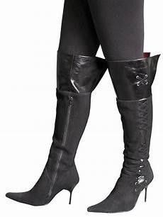knee boots black suede needle heel tout ensemble