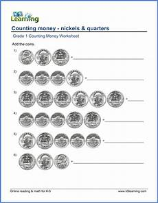 money worksheets level 1 2214 grade 1 counting money worksheets nickels and quarters k5 learning