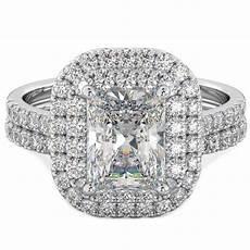 925 silver 2 piece asscher cut halo wedding engagement ring ebay