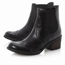 new dune prets womens black leather brogue ankle