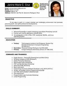 philippines resume sle free resume sle