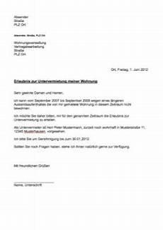 musterbrief erlaubnis untervermietung word vorlage zum
