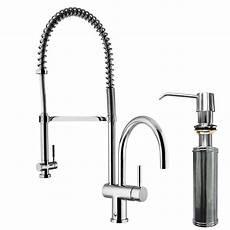 kitchen faucet with pull sprayer vigo single handle pull sprayer kitchen faucet with soap dispenser in chrome vg02006chk2