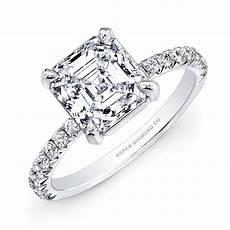 asscher cut diamond engagement ring in platinum bridal
