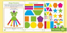 shapes worksheets eyfs 1093 shape monsters worksheet activity sheet ni ks1 numeracy 2d