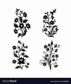 flower motifs silhouette set royalty free vector image