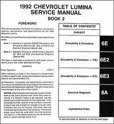 service manuals schematics 1992 chevrolet lumina electronic valve timing 1992 chevy lumina car repair shop manual original 2 volume set