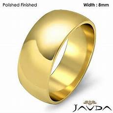 solid 18k gold yellow dome mens wedding band high polish ring 8mm 10 1gm 11 11 7 ebay
