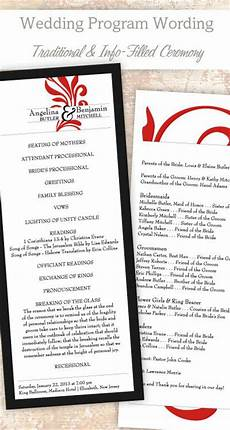 traditional wedding program wording template wedding