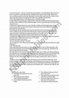 english worksheets pre intermediate reading comprehension test with grammar