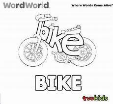 preschool word world colouring printable colour the word quot bike quot tvokids wordworld