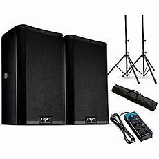 qsc k 8 qsc k8 2 8 quot powered speaker pair with stands and power guitar center