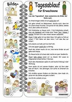german worksheets for adults 19592 day routine for adults with pictures with solution tagesablauf daily routine german