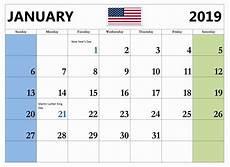 january 2019 holiday calendar usa templateprintable monthlycalendartemplate