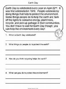 earth science reading comprehension worksheets 13265 earth day reading comprehension by the teaching rabbit tpt