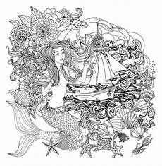 mermaid and boat mermaids coloring pages