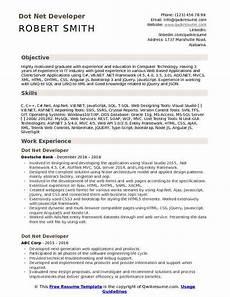 resume headline for dotnet developer dot net developer resume sles qwikresume