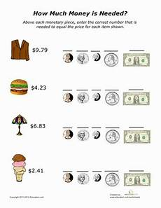 money addition worksheet education com