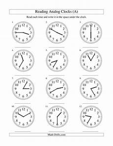 the reading time an analog clock in 5 minute intervals a math w atividades de matem 225 tica