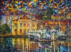 Twin Boats  Palette Knife Oil Painting On Canvas By Leonid