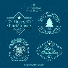 merry christmas labels in light blue vector free download