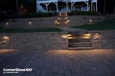 retaining wall hardscape lighting cornerstone wall solutions