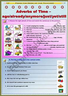 time adverbs worksheets 2909 adverbs of time ago already anymore just yet still 2 2 esl worksheet by junya