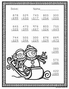 winter subtraction worksheets 20085 free three digit subtraction with regrouping winter theme 3 nbt 2 math worksheets